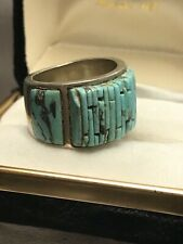 Exclusive Native Southwestern Turquoise Ring Sterling Silver Women's