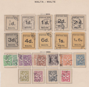 Malta 1925/68 Postage Due Collection Used 5 Pages