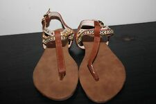 Tobi Tan Leather Ankle Strap Sandal size 37 NEW