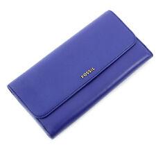 Fossil Memoir Deep Violet Flap Libretto Degli Assegni Wallet Clutch Purse SL4315502 Nuovo in