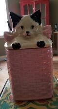 """VTG  cat KITTEN little girl pink bow princess COOKIE JAR 10"""" TALL black white"""