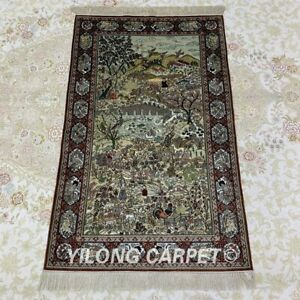 YILONG 2.5'x4' Idyllic scenery Tapestry Silk Carpet Ancient Area Rug 039H
