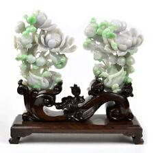 Pair of A Grade Green Lavender Jadeite Jade Lotus Flower Swan Statues Certified