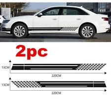2Pcs Black Universal Car Side Body Vinyl Decals Sticker Racing Stripe Decals