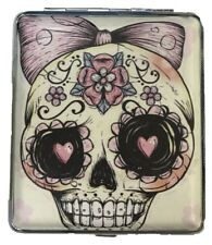 Eclipse Candy Skull Bow Leatherette Crushproof Metal Cigarette Case, Kings
