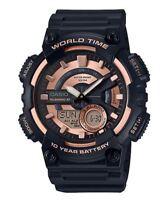 Casio Men's Quartz Telememo Black & Rose-Gold Tone Resin 47mm Watch AEQ110W-1A3V