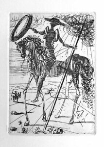Salvador DALI Don Quixote Plate Signed Restrike Etching & COA