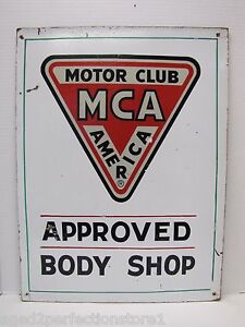 MCA MOTOR CLUB AMERICA APPROVED BODY SHOP Orig Old Sign Gas Oil Auto Advertising