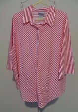 Blair Pink & Ivory Striped 3/4 Sleeve Cotton Blend Button Front Shirt - Size 2XL