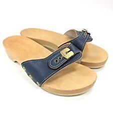 Vintage Navy Blue Dr Scholls Wood Leather Exercise Sandal Slide Austria Made, 9