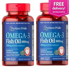 Puritan's Pride Omega-3 Fish Oil 1000 mg (300 mg Active Omega-3) Softgels 2 PACK