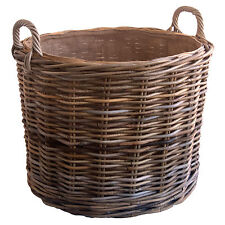 Sturdy Best Quality Lined Round Grey Rattan Wicker Log Basket with Wheels