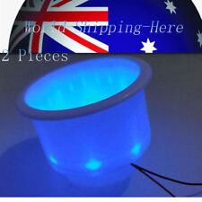 2PCS Blue 8LED White Plastic Cup Drink Holder Fit Marine Yacht /Car AU Local