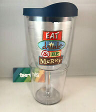 Tervis Tumbler Eat Drink Be Merry 16 oz Wine Goblet Cup W/Blue Lid