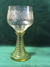 Oversize Blown Glass Wine Goblet ~ Etched Grape Design ~ Ribbed Stem ~ Germany