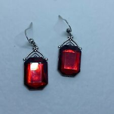 GORGEOUS ART DECO STYLE RED FACETED EARRINGS SILVER PLATED BRASS ...HOOK