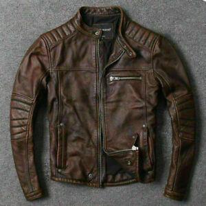 Mens Vintage Brando Motorcycle Biker Distressed Brown Real Leather Jacket