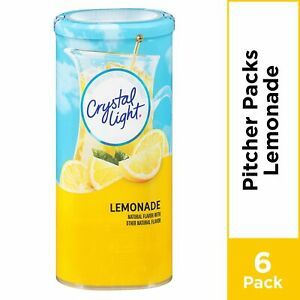 CRYSTAL LIGHT LEMONADE Powdered DRINK MIX (6 Pitcher Packs x 1 Can) FREE Ship