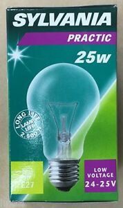 2 PACK Sylvania 24v / 25v low voltage ES 25 Watt Clear GLS sauna etc 25W in B2