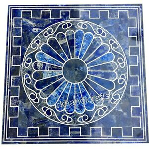 Lapis Lazuli Stone Corner Table Top Marble Coffee Table for Home 16 x 16 Inches