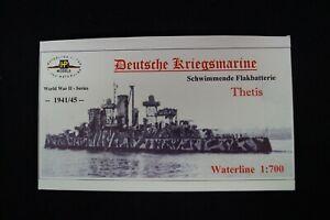 HP Models 1:700 Waterline German-Navy Flakbatterie Thetis -1941/45  -Resin-Baus.
