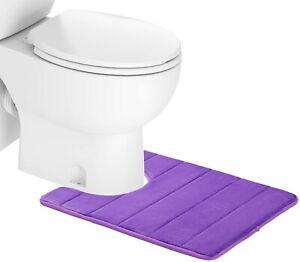"Memory Foam Toilet Bath Mat U-Shaped Contour Rug, 20"" X 24"" Purple"