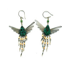 Peru Andes Earrings: Bird shape with turquoise, metal wings and bamboo hangings