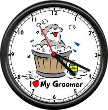 I Love My Groomer Dog Wash Bath Sign Wall Clock #249