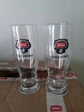 SET OF 2 STELLA ARTOIS 4% PINT GLASSES LAGER BEER ALE AMBER ALE