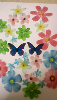 30 PRECUT pink and blue flowers Edible wafer/rice paper cake/cupcake toppers(a)