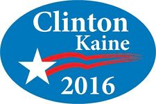 "Clinton Kaine 2016 bumper sticker label decal 6x4"" white gloss premium vinyl"