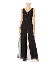 Adrianna Papell Women's Beaded Georgette Jumpsuit BLACK