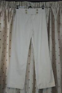 Per Una  Ladies Cream Cotton Blend Trousers ~ Size 8R