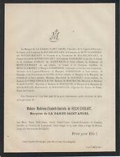 1889 Faire-part décès Gabrielle de ROCHECHOUART Marquise de LA GARDE SAINT-ANGEL