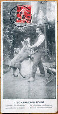1908 Little Red Riding Hood/Chaperon Rouge Postcard w/Wolf, Unusual Size