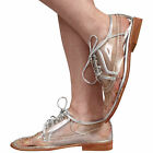 WOMENS SMART LOW HEEL FLAT LACE UP LADIES BROGUE LOAFER SHOES SIZE 3-8