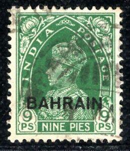 BAHRAIN INDIA KGVI Overprint Stamp 9p Used {samwells-covers} ORANGE482