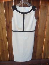 CHARTER CLUB Women's DRESS size 8 Cream Black Sleeveless