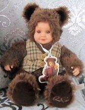 Anne Geddes Baby Bear Boy With Plaid Vest Doll Teddy Plush Doll Stuffed 12 Inch