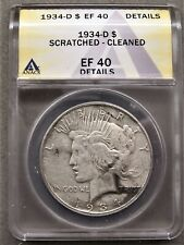 1934-D PEACE SILVER DOLLAR ** ANACS EF-40 DETAILS **