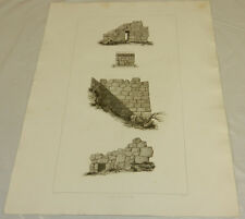 "1831 Greek Architecture Print/STONE WALLS IN SAMICUM, GREECE/15x20"""