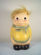 RARE 1971 Vtg A.N. Brooks Chalkware Piggy/Pig Bank w/ Yellow Donald Trump Hair