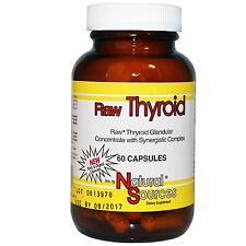 NATURAL SOURCES - RAW THYROID - 60 x 390mg CAPSULES - ENERGY / THYROID SUPPORT