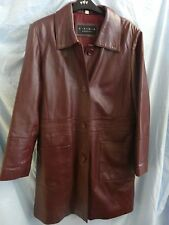 Ladies Elements Maroon / Burgundy Leather Coat, Size Small