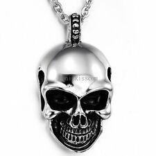 Mne's Stainless Steel Gothic Devil Skull Pendant Necklace Chain Halloween Gift