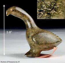 Early Vtg Inuit Eskimo Soapstone Carving Bird Goose Figure Signed 1960's- 70s