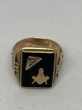 More details for mens 9ct gold square and compass masonic ring
