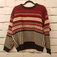 Woolrich Men's Nordic Sweater Wool Red Gray White Mens Size Medium Vintage