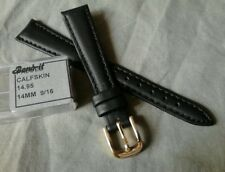 Top Quality Ladies NOS Band-It 14R Black Padded & Stitched Calfskin Watch Band