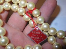 HOBE Vintage Big 10mm Majorca Pearl NECKLACE Unused Old Stock Mint w/ Label